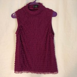 New Directions Large Petite Top Purple Ruffle 1246